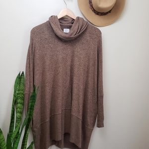 Anthro Postmark Brown Cowl Neck Tunic Sweater